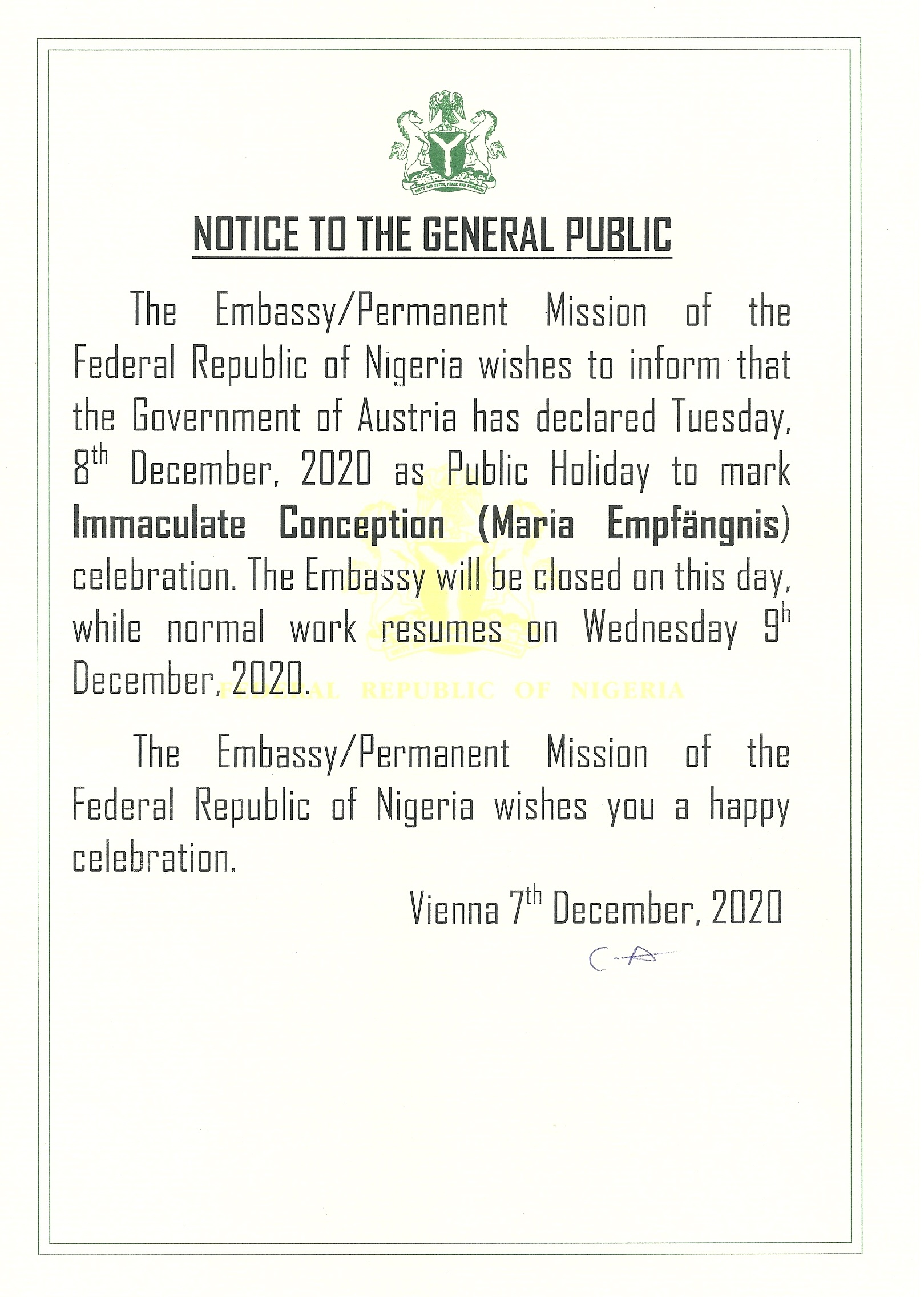 PUBLIC HOLIDAY ANNOUNCEMENT